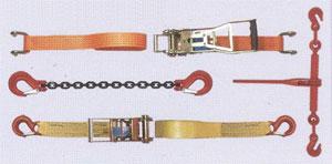 sangles, cables, cordages, pinces pour immobiliser une charge soulevée